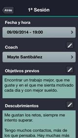 Mentormy, pantalla Sesión personal de Coaching con objetivos previos, descubrimientos y plan de acción