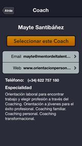Mentormy, pantalla Datos de contacto del Coach elegido